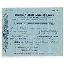 Lakekamu Goldfields (Papua) Development, 1935 Issued Stock Certificate