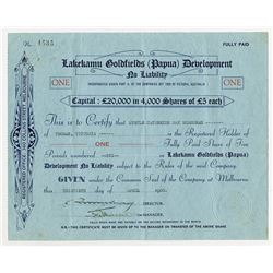 Lakekamu Goldfields (Papua) Development, 1935 Issued Stock Certificate