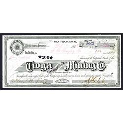Tioga Consolidated Mining Co., 1880 Bodie Mining District Stock Certificate.