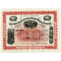 Little Diamond Consolidated Mining Co. 1882 Stock Certificate.