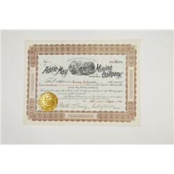 Addie-May Mining Company of Georgia, 1892 Issued Stock Certificate