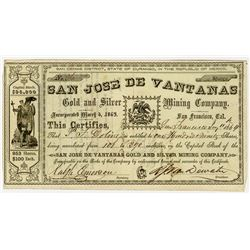 San Jose De Vantanas Gold and Silver Mining Co., 1864 I/U Stock Certificate.