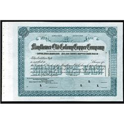 Mayflower-Old Colony Copper Company, ND (ca. 1900-1920) Specimen Stock Certificate.