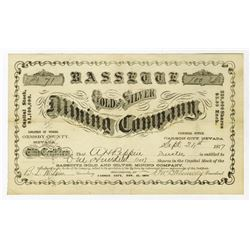 Bassette Gold and Silver Mining Co., 1877 Stock Certificate