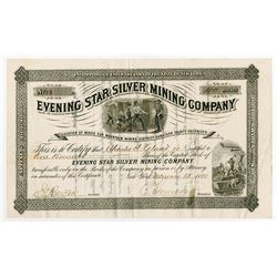 Evening Star Silver Mining Co. 1880 I/U Stock Certificate.