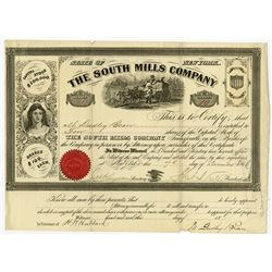 South Mills Co., 1866 Stock Certificate, Notorious for Horace Greely being Scammed by a Southerner A