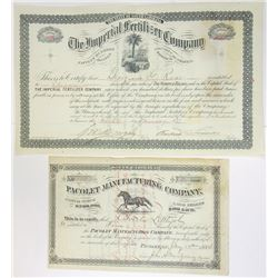 South Carolina Issued Stock Certificate Pair, 1884-1899