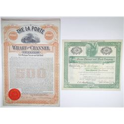 Texas Shipping & Navigation Stock and Bond Certificate Pair, 1899-1909