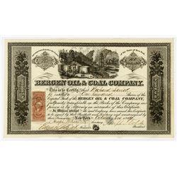 Bergen Oil & Coal Co., 1864 I/U Stock Certificate.