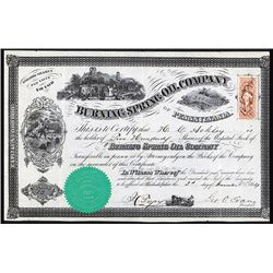 Burning Spring Oil Co. 1864 I/U Stock Certificate.