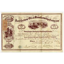 Dark Hollow Oil and Manufacturing Co., 1864 I/U Stock Certificate.