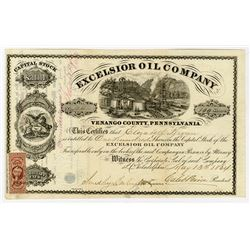 Excelsior Oil Co., 1864 I/U Stock Certificate.