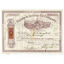 Fayette & Greene Oil Co., 1865 I/U Stock Certificate.