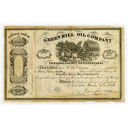 Green Hill Oil Co., 1865 Issued Stock Certificate