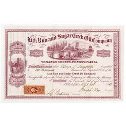 Lick Run and Sugar Creek Oil Co., 1865 I/U Stock Certificate.