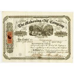 Mahoning Oil Co., 1865 I/U Stock Certificate.