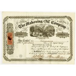 Mahoning Oil Co., 1865 I/U Stock Certificate.