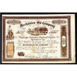 Mechanics Oil Company, 1865 Stock Certificate.