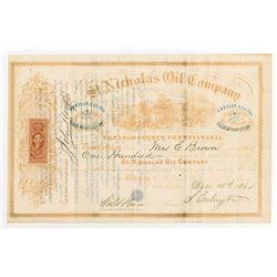 St. Nicholas Oil Co., 1864 I/U Stock Certificate.