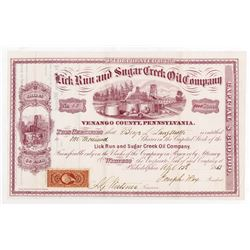 Star Oil Co., 1865 I/U Stock Certificate.