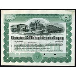 Birmingham & Gulf Railway & Navigation Co. 1910-20 Specimen Stock Certificate.