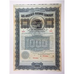 Los Angeles Railway Co. 1899 Specimen Bond.