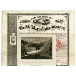 Erie and Niagara Railway Co., 1864 I/C Bond & 1804 Print of Niagara Falls.