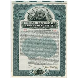 Colorado Springs and Cripple Creek District Railway Co., 1902 I/U Coupon Bond.