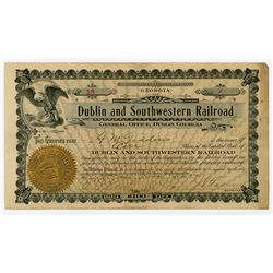 Dublin and Southwestern Railroad, 1905 I/U Stock Certificate