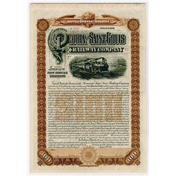 Peoria and Saint Louis Railway Co., 1896 Specimen Bond