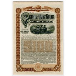 Peoria and Saint Louis Railway Co., 1896 Specimen Bond