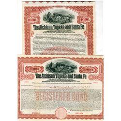 Atchison, Topeka and Santa Fe Railway Co., 1910 Pair of Specimen Bonds
