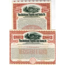 Atchison, Topeka and Santa Fe Railway Co., 1910 Pair of Specimen Bonds