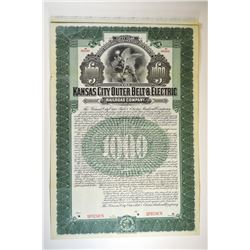 Kansas City Outer Belt & Electric Railroad Co. 1903 Specimen Bond.