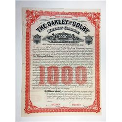 Oakley and Colby Railway Co., 1886 Specimen Coupon Bond.