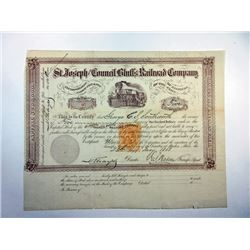 St. Joseph and Council Bluffs Railroad Co., 1868 Issued Stock Certificate with 25ct Imprinted Revenu