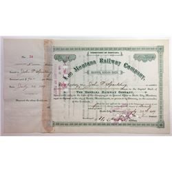 Montana Railway Co., 1889 Issued Stock Certificate.