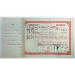 Montana Union Railway Co., 1887 Issued Stock Certificate.