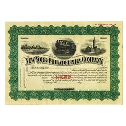 New York-Philadelphia Co. ca. 1900 Specimen Stock Certificate.