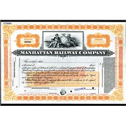 Manhattan Railway Company 1890 Stock Certificate (reissued in 1922 and then again in 1940) Specimen