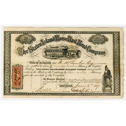 Staten Island Horse Railroad Co., 1867 I/U Stock Certificate.