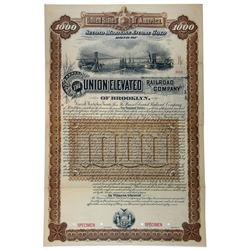 Union Elevated Railroad Co., 1887 Specimen Bond.