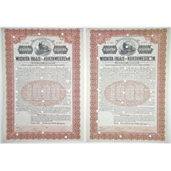 Wichita Falls and Northwestern Railway Co., 1907 Cancelled Pair of Certificates