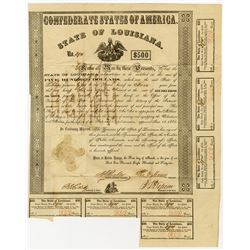 C.S.A., State of Louisiana, 1862 I/U Bond.