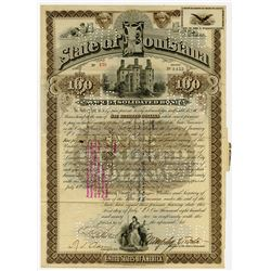 State of Louisiana, 1892 I/C Bond Signed by Murphy Foster as Governor.