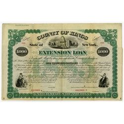 State of New York, County of Kings Extension Loan, 1875 Specimen Bond Rarity