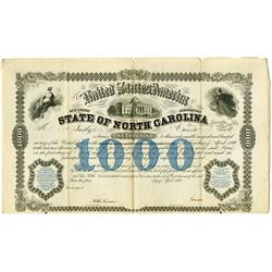 "State of North Carolina 1869 Specimen Bond ""Issued for the Eastern and Western Railroad Co."""