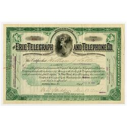 Erie Telegraph and Telephone Co., 1900 Issued Stock Certificate