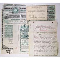 Birmingham Mineral Railroad Co., 1884 Proof Bond Production File, Tears and Damage, Rare