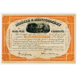 Mobile & Montgomery Rail-Way Co., 1881 I/C Stock Certificate